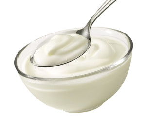 Bowl with yoghurt